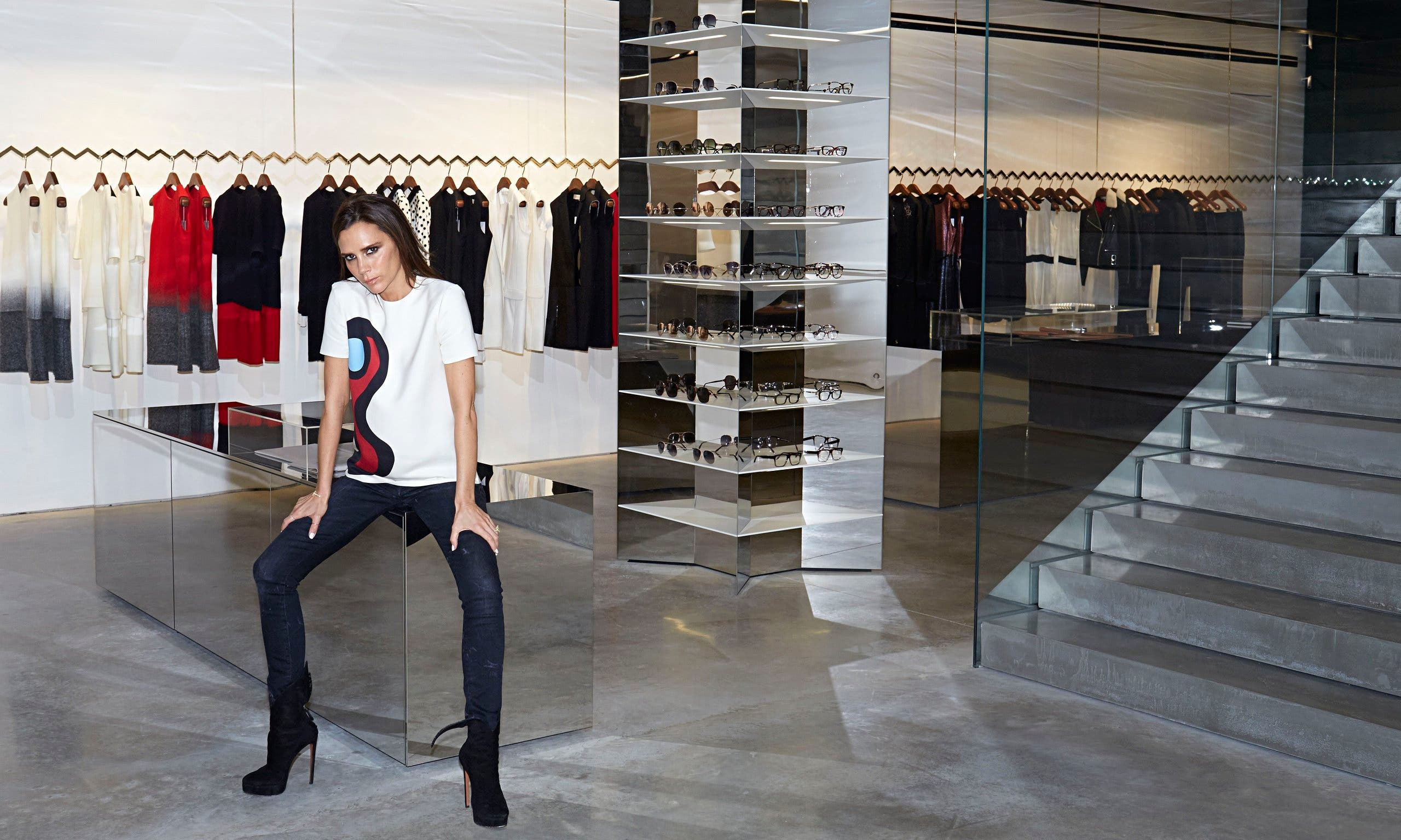 Victoria Beckham at her new store in Dover Street, London.