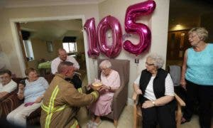 Sprightly Ivena Smailes wanted just one thing for her 105th birthday - a cake hand delivered by a hunky fireman.nnAnd thanks to Tyne and Wear Fire and Rescue Service, that wish came true on Wednesday.nnClimbing the ladder to her third floor balcony, the burly, tattooed firefighter was specially requested by Ivena to mark her big day.nnThe surprising scene was the latest in a series of birthday wishes requested by the resident of Addison Court Care Home in Wesley Grove, Crawcrook.nnIvena Smailes from Crawcrook, who has celebrated her 105th birthday